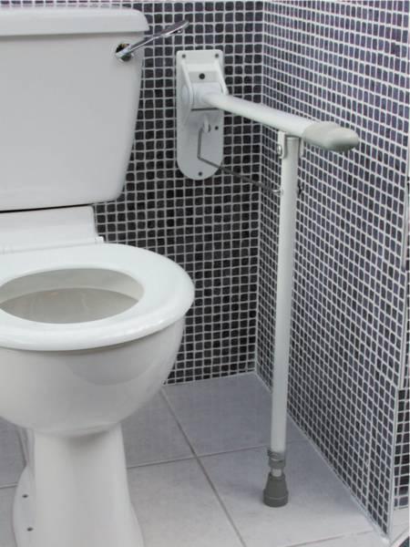 Barre d'appui WC relevable avec pied de soutien | Autonomie & vie quotidienne