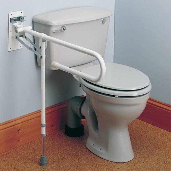Barre d'appui WC relevable avec pied de soutien Days | Autonomie & vie quotidienne