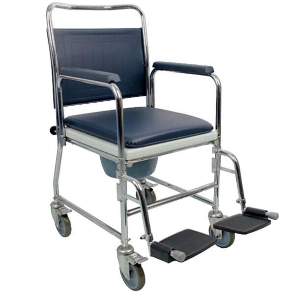 Chaise percée à roulettes en acier chromé - Homecraft | Autonomie & vie quotidienne